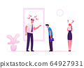Angry Furious Boss Scolding and Rebuking Incompetent Employees in Office. Dissatisfied Ceo Shouting on Businessman and Businesswoman at Workplace. Stress Situation Cartoon Flat Vector Illustration 64927931