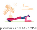 Young Man Practicing Sports Activity at Home. Male Character Stand in Plank Posture Stretching Legs and Arms. Flexibility Exercise Body Relaxation Healthy Lifestyle. Cartoon Flat Vector Illustration 64927950