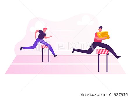 Business People Characters Running Competition. Businessman Holding Huge Pile of Golden Coins in Hands Jump over Barriers. Leadership Colleague Chase Successful Leader Cartoon Flat Vector Illustration 64927956