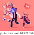 Cheerful Shopaholic Couple with Trolley Full of Purchases and Gifts. Happy Man and Woman with Packages. Buyers Have Fun 64928066