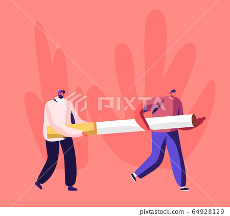 Smoking Addiction and Bad Unhealthy Habit Concept. Couple of Tiny Male Characters Carry Huge Cigarette. Addicted Men 64928129