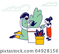 Mother and Daughter Gardening Hobby, Young Woman and Little Girl Care of Plant in Garden, Watering 64928156