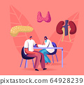 Female Doctor Endocrinologist Character Measuring Arterial Blood Pressure with Tonometer to Patient Sitting at Table 64928239