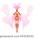 Girl Wearing Festival Costume with Feathers Dancing at Carnival in Rio De Janeiro. Brazilian Samba Dancer Woman 64928502