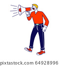 Online Public Relations, Affairs Concept. Man Shouting to Megaphone or Loudspeaker. Alert Advertising Campaign 64928996