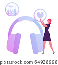 Hse Concept. Woman Holding Heart Icon in Hands Stand near Huge Headset for Workers Ears Protection on Factory 64928998