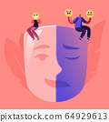 Man and Woman Sitting on Huge Mask Separated on Opposite Emotions with Smiling and Sad Crying Parts 64929613