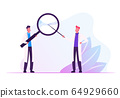 Couple of Male Doctors in Medical Robe Holding Huge Magnifier in Hands Pointing through Glass. Hospital Healthcare 64929660