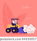 Man Loading Huge Cubes of White Sugar with Excavator Removing Unhealthy Product from Nutrition 64930057