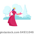 Princess or Queen in Red Dress with Crown on Head Stand on Nature Landscape Background. Fairy Tale Personage 64931046