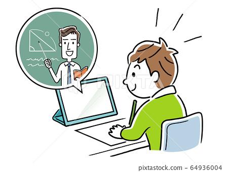 圖庫插圖:一個男孩在家上在線課 64936004