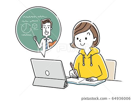 圖庫插圖:女孩在家上在線課 64936006