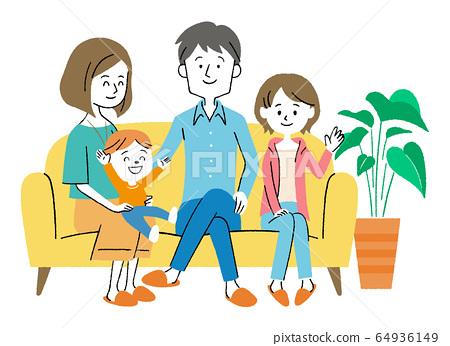 家人坐在沙發上 64936149
