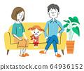 家人坐在沙发上 64936152