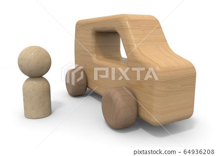 司機和汽車。去兜風。木製車。 3D渲染 64936208
