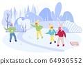 Happy Children Company Fight with Snow Balls. 64936552