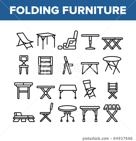Folding Furniture Collection Icons Set Vector 64937686