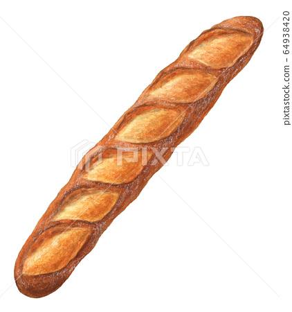 法式長棍麵包手繪水彩 64938420