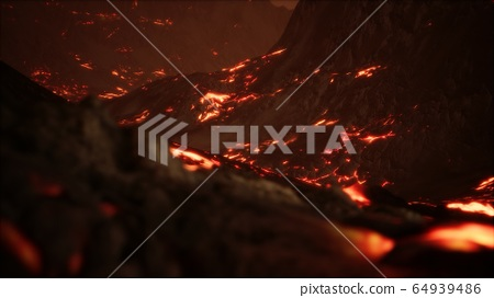 Red Orange vibrant Molten Lava flowing onto grey 64939486