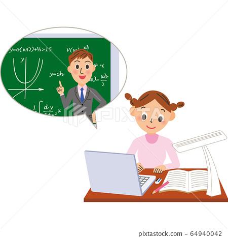老師和女學生在線教學數學 64940042