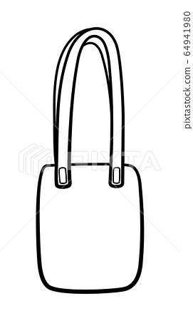 Outline style textile ecobag isolated illustration on white background 64941980