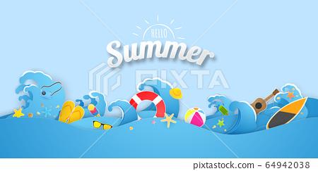 Summer swim ring greeting background. Celebration 64942038