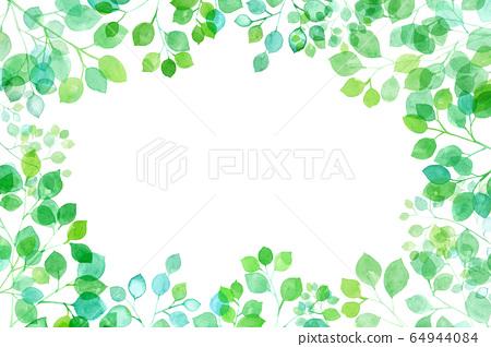 고개 신록, 태양 광 투과 빛나는 지엽의 수채화 그림 프레임 배경 64944084