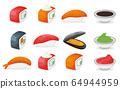Set of piece fish salmon sushi icon, fresh ocean 64944959