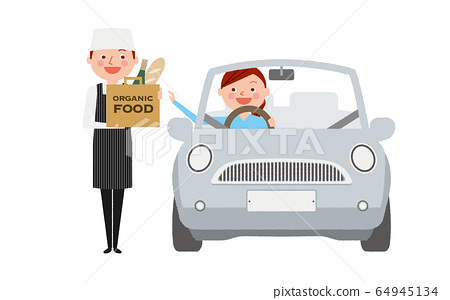 開車穿過購物的女人圖 64945134