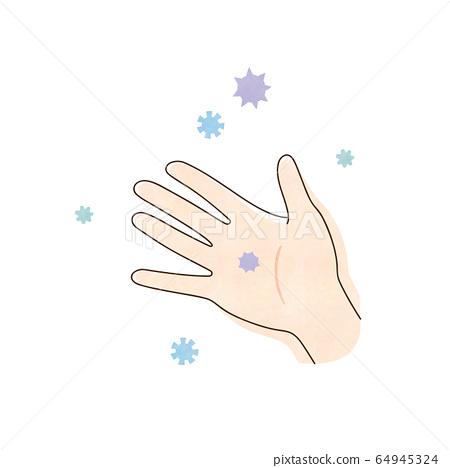 Virus and right hand 64945324