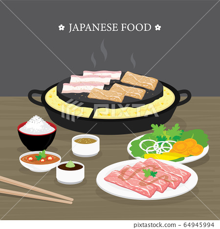 Set of Traditional Japanese food, Yakiniku version of Korean BBQ. Raw beef and pork slice cooking barbeque and grilled. Cartoon Vector illustration 64945994