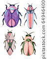 Hand painted watercolor cartoon beetles. Funny colorful and cute insects and bugs. 64946400
