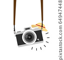 hanging camera vector with straw hat 64947448