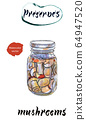 Homemade can. Glass jar of preserved mushrooms, hand drawn watercolor illustration 64947520