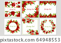 Greeting Cards with Pomegranate Leaves and Fruit Framing the Border and Arranged in Wreath Vector Set 64948553