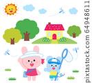 곤충 잡기하는 토끼와 쥐 집과 나무, 태양 64948611