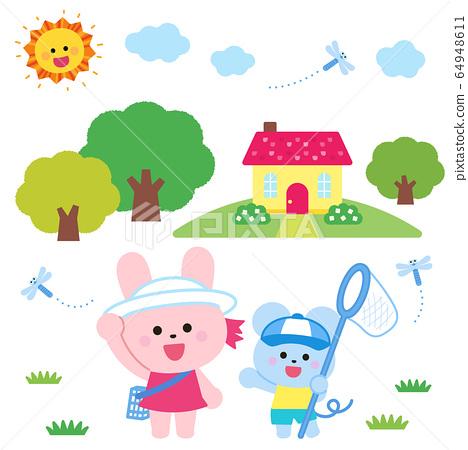 兔子和老鼠捕捉昆蟲,房屋,森林和陽光 64948611