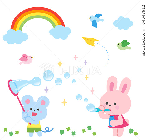 비누 방울 놀이를하는 토끼와 쥐 무지개와 작은 새 64948612