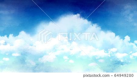 背景素材晴朗的天空雲景觀水彩 64949280