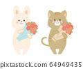 꽃다발을 가진 토끼와 고양이 세트 64949435