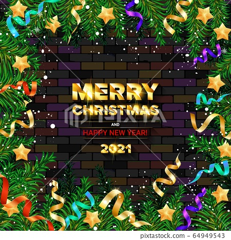 merry christmas and happy new year 2021 stock illustration 64949543 pixta https www pixtastock com illustration 64949543