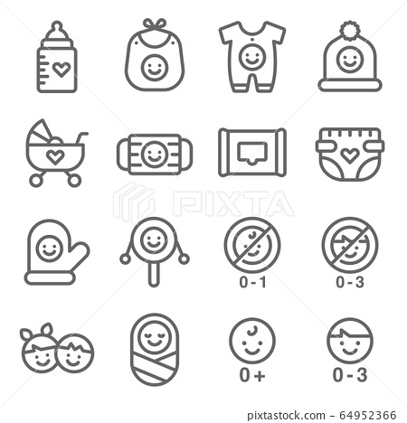 Baby symbol icon set vector illustration. Contains such icon as Baby accessories, Infant, Toy, Stroller, Diapers, pyjamas and more. Expanded Stroke 64952366