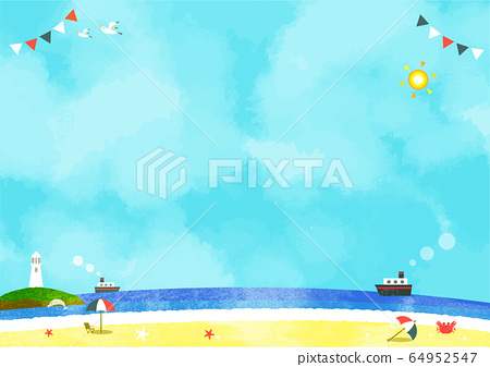 海背景材料水彩紋理 64952547