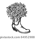 Flowers in boot. Cowboy with flowers. Vector 64952988