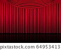 Realistic theater stage indoor with a red curtain 64953413