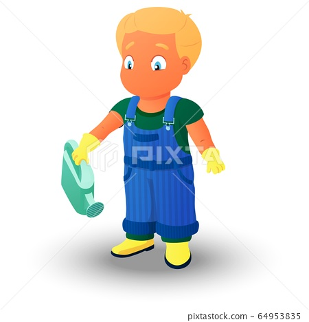 Boy in a denim overall holding a watering can 64953835