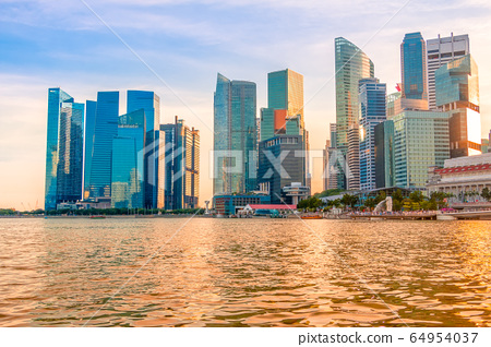 Singapore Skyscrapers and Golden Water at Sunset 64954037