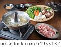 japanese pork shabu shabu, hot pot 64955132