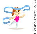 Little girl exercising with gymnastic ribbon. Children sport, training. Cartoon flat vector illustration. Isolated on white background. 64955553