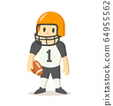 American football player in uniform, cartoon character. Flat vector illustration, isolated on white background. 64955562